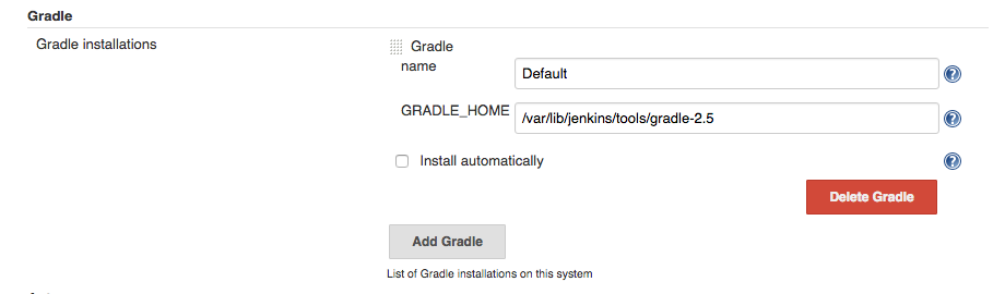 Gradle configuration
