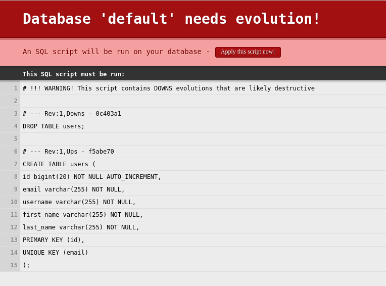 Database Initialization with play and Scala – Emmanouil